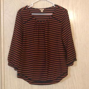 J crew blouse. Navy blue with orange stripes